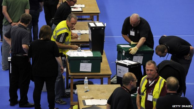 Ballots boxes in Glasgow
