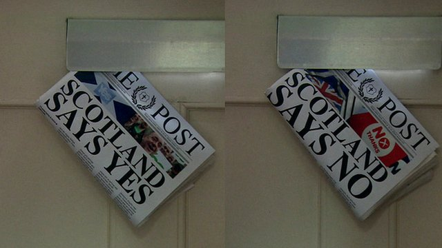 Imaginary newspapers saying 'Scotland says Yes' and 'Scotland says No'