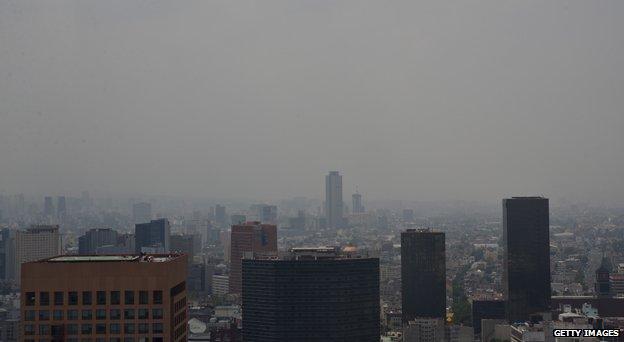 Mexico City through the smog