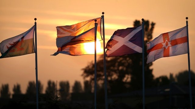 The flags of Scotland, Wales and England