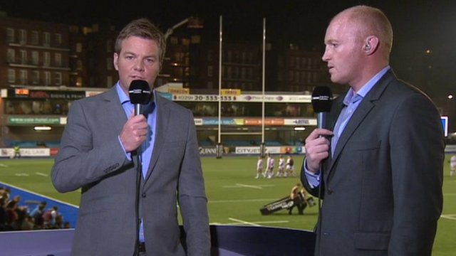 Scrum V presenter Ross Harries with ex-Wales flanker Martyn Williams