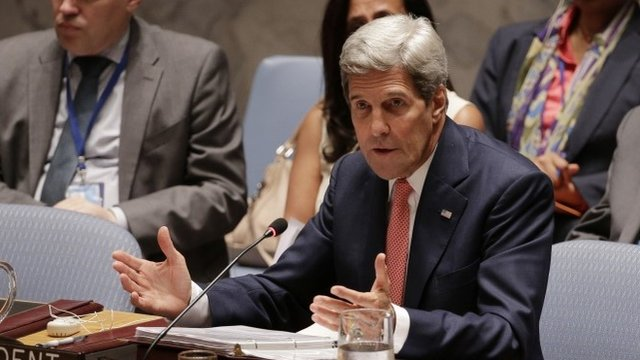 US Secretary of State John Kerry speaks during a UN Security Council meeting