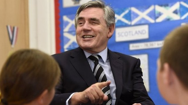 Former Labour Prime Minister Gordon Brown at Kelty Primary school