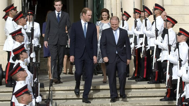 Prince William and Maltese Prime Minister Joseph Muscat
