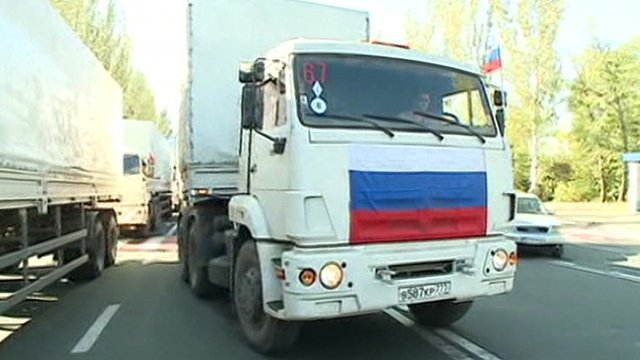 Aid convoy truck with Russian flag on the front