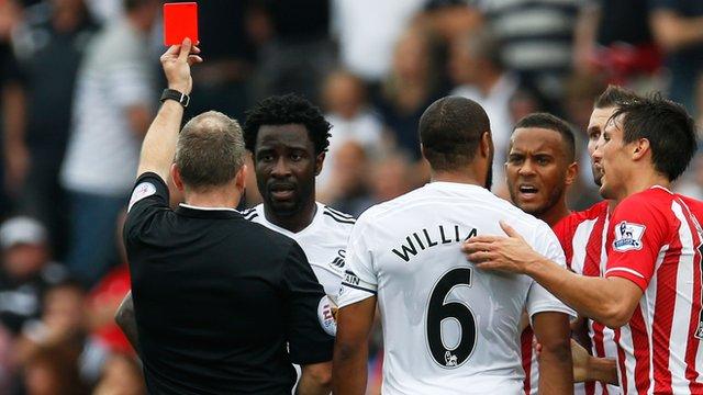 Swansea's Wilfried Bony gets shown red card