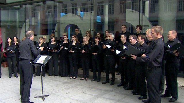 Choir singing outside BBC