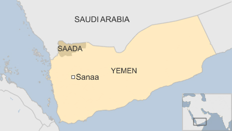 Map of Yemen showing the capital, Sanaa, and the Saada province