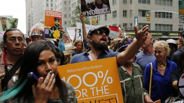 Leonardo DiCaprio joins climate change protesters in New York
