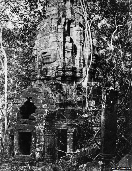 Phra Sav Ling Povn, palace of the leprous king, near the great temple of Angkor Wat, circa 1930