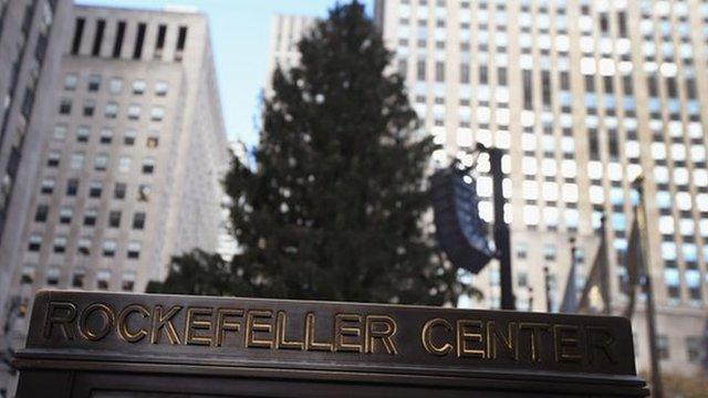 The Christmas tree at Rockefeller Center awaits lighting on 28 November 2012 in New York City.