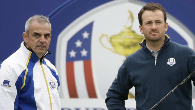 Europe's Ryder Cup captain Paul McGinley with Graeme McDowell