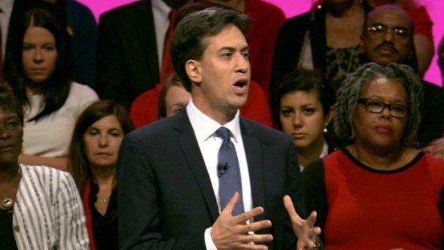 Ed Miliband giving conference speech