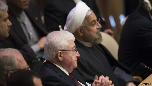 Iraq's President Fouad Massoum (L) sits next to Iran's President Hassan Rouhani during the Climate Summit at the U.N. headquarters in New York (23 September 2014)