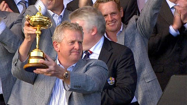 Colin Montgomerie holds aloft the 2010 Ryder Cup at Celtic Manor