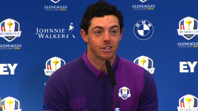 Rory McIlroy speaks about meeting former Manchester United manager Sir Alex Ferguson ahead of the 2014 Ryder Cup