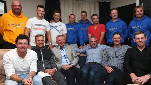 Europe's Ryder Cup team with Sir Alex Ferguson