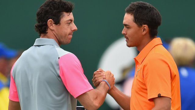 Rory McIlroy is congratulated by Rickie Fowler after his Open Championship victory in July