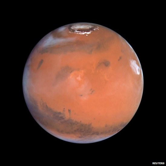 This 1999 Hubble telescope image shows Mars when Mars was 54 million miles (87 million kilometers) from Earth.