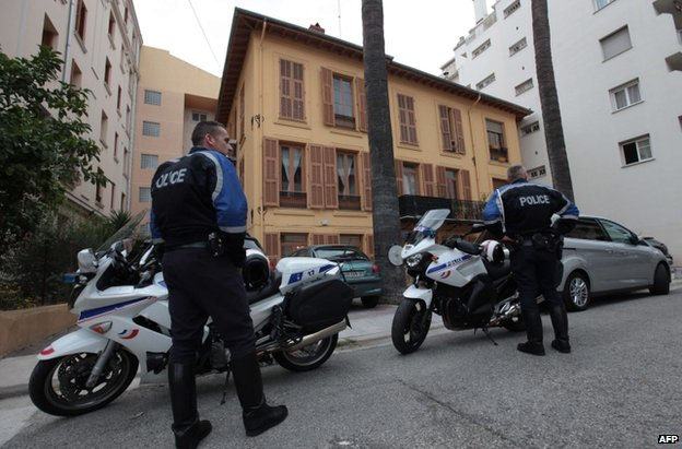 Police guard Herve Gourdel's home in Nice, south-eastern France, 24 September