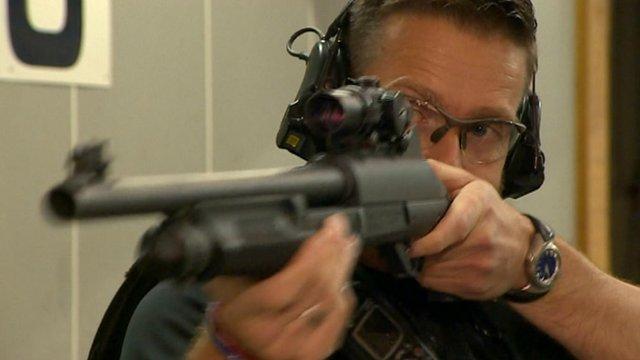 Policeman with gun