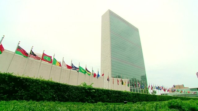 Flags flying outside the UN