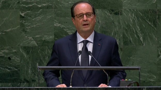 French President Francois Hollande addresses the UN General Assembly (24 September 2014)