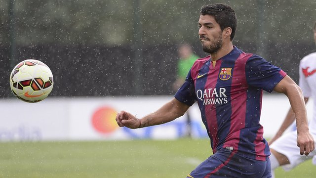 Luis Suarez scores twice playing for Barcelona B during a 6-0 friendly victory over an Indonesian Under-19s select XI