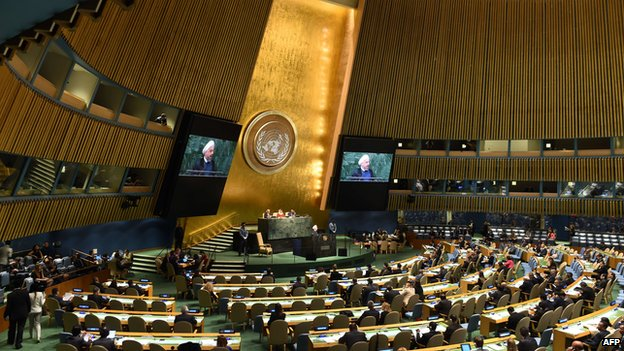 Rouhani addresses the 69th UN General Assembly in New York 25 September 2014