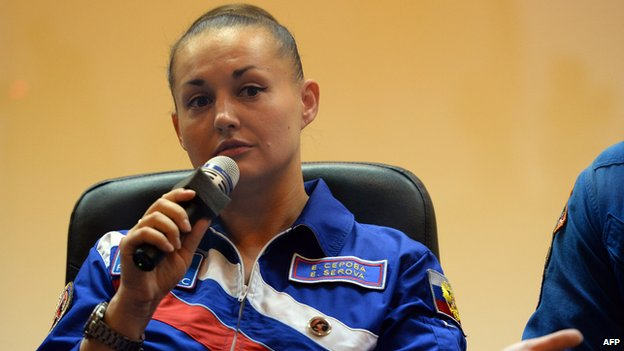 Russia's cosmonaut Yelena Serova attends a press conference at the Russian-leased Baikonur cosmodrome on September 24, 2014.