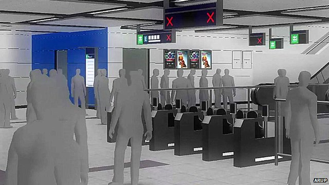 A computer simulation showing a planned station upgrade in Hong Kong