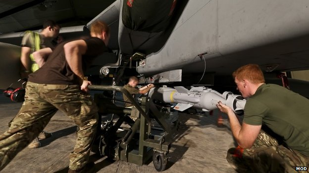 Royal Air Force Tornado GR4 being armed with Paveway IV laser-guided missile