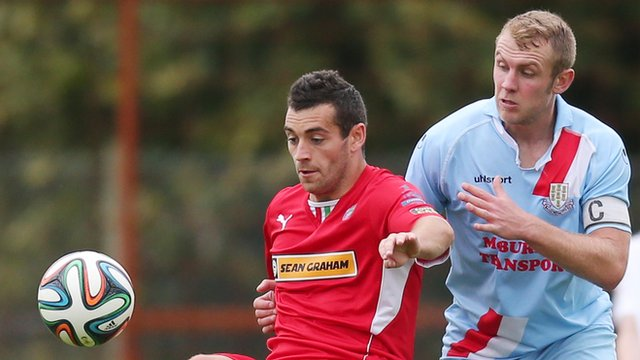 Match action from Ballymena United against Cliftonville