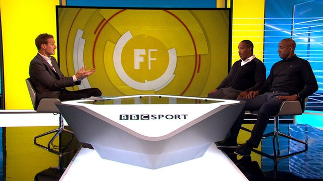 Dan Walker (l) with Paul Ince and Dion Dublin (r)