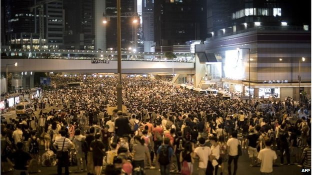 Protesters near the government headquarters, 28 September