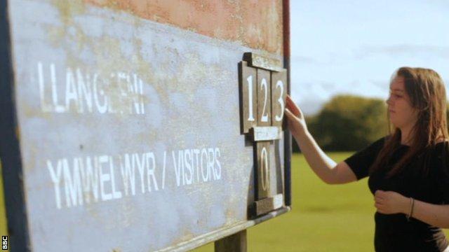 Scoreboard at Llangefni RFC