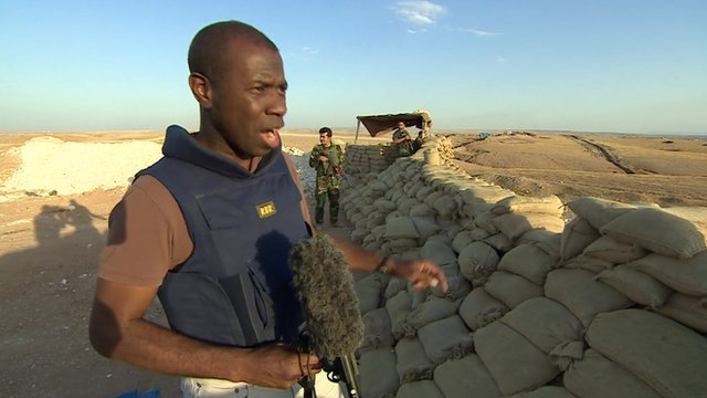 Clive Myrie in Peshmerga camp at front line in northern Iraq