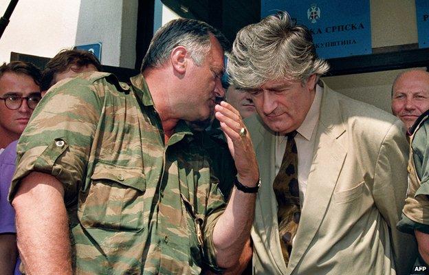 Mladic and Karadzic 5 August 1993,AFP