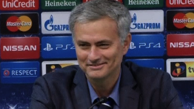 Chelsea manager Jose Mourinho speaking after the 1-0 victory over Sporting Lisbon