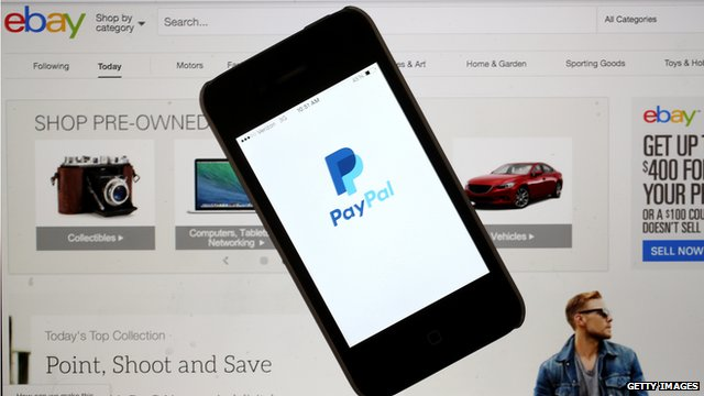 Photo illustration of eBay and PayPal websites