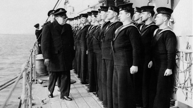 Prime Minister Winston Churchill inspects the ship's company of H.M.S. Scylla in London on 21/10/1942