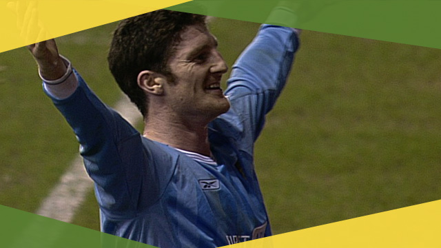 Manchester City's Jon Macken celebrates his winner against Tottenham in the 2004 FA Cup