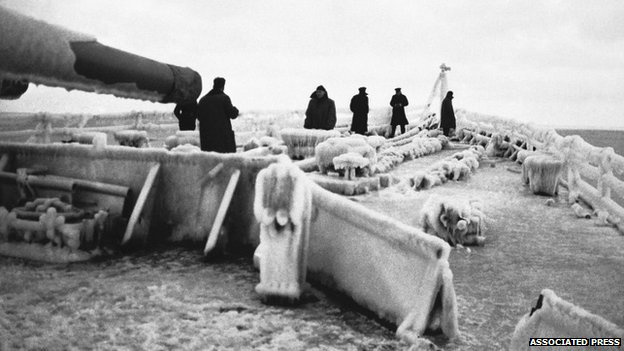 Icebound conditions on the deck of a British cruiser on 27/02/1943, during escort duty on the northern convoy route to Russia.