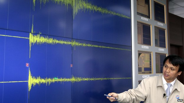 South Korean scientists displays seismograph after North Korean nuclear test