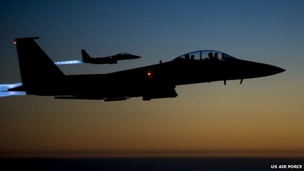 A pair of US Air Force F-15E Strike Eagles flying over northern Iraq on 23 September 2014