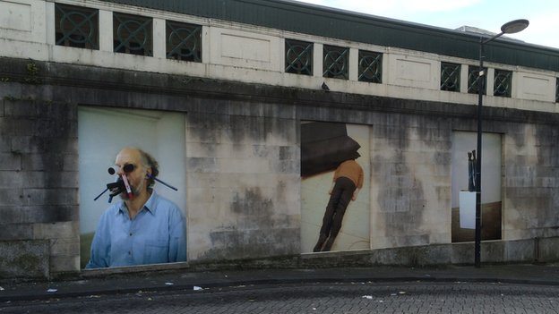 Artwork outside Cardiff Central station