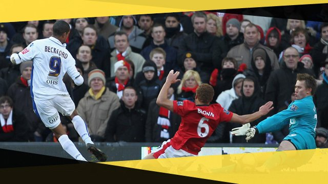 Leeds United's Jermaine Beckford scores against Man Utd in the 2010 FA Cup