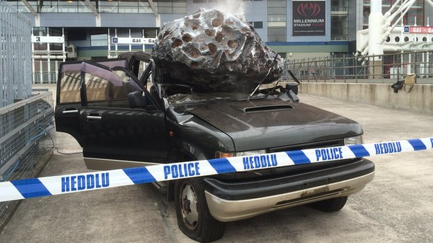 Andrew Cooper's crushed car outside the Millennium Stadium in Cardiff