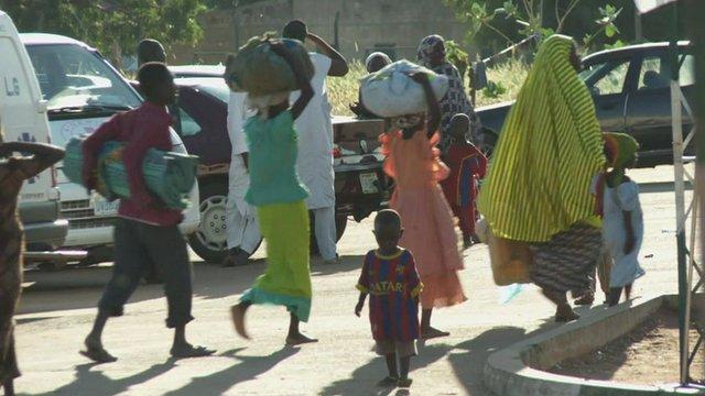 People fleeing Boko Haram arrive at camp in Yola