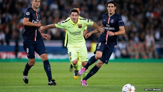 Lionel Messi, centre, in a match between Barcelona and Paris Saint-Germain in Paris, 30 September 2014